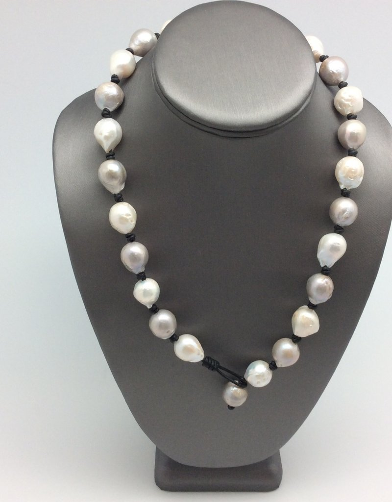 Gray & White Big Freshwater Pearls on Leather Necklace