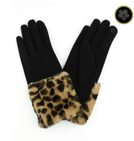 Faux Leopard Cuff Gloves