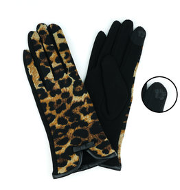 Leopard Print Knit Gloves