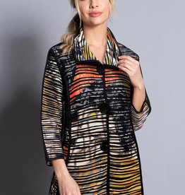 Ali Miles Knit Printed Wave Jacket
