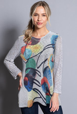 Ali Miles Printed Textured Knit Top