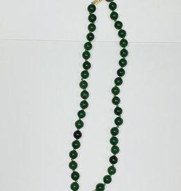 "17"" Jade Necklace 14k Clasp"
