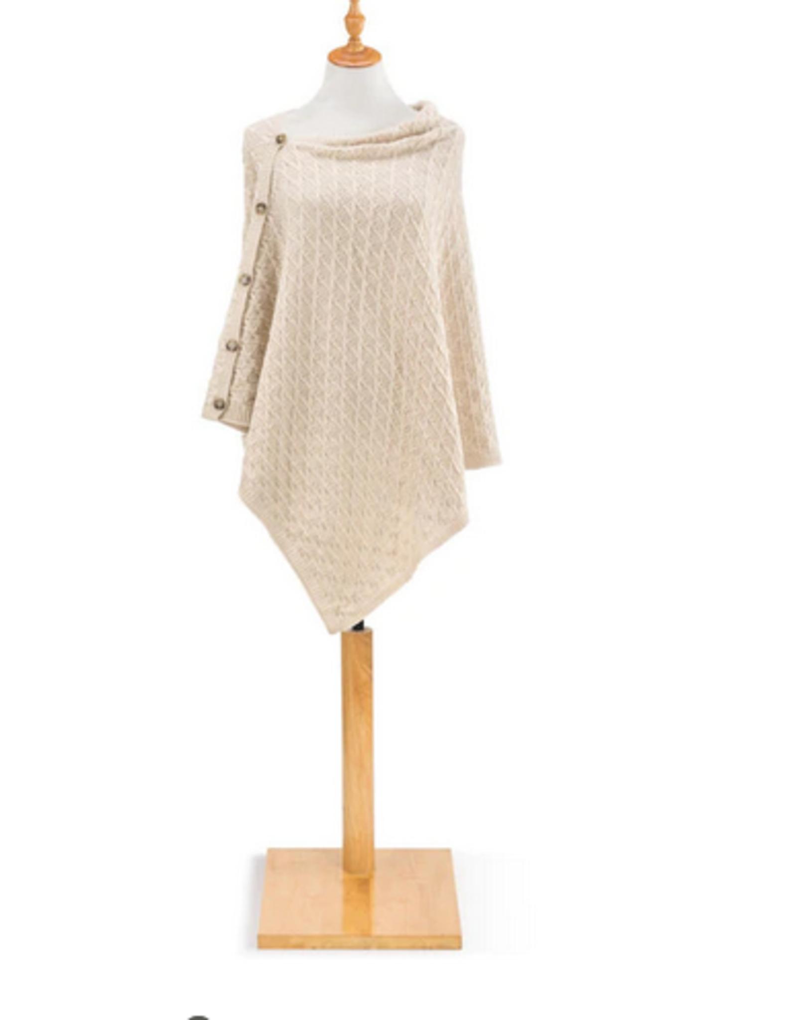 Cream Knit Button Poncho