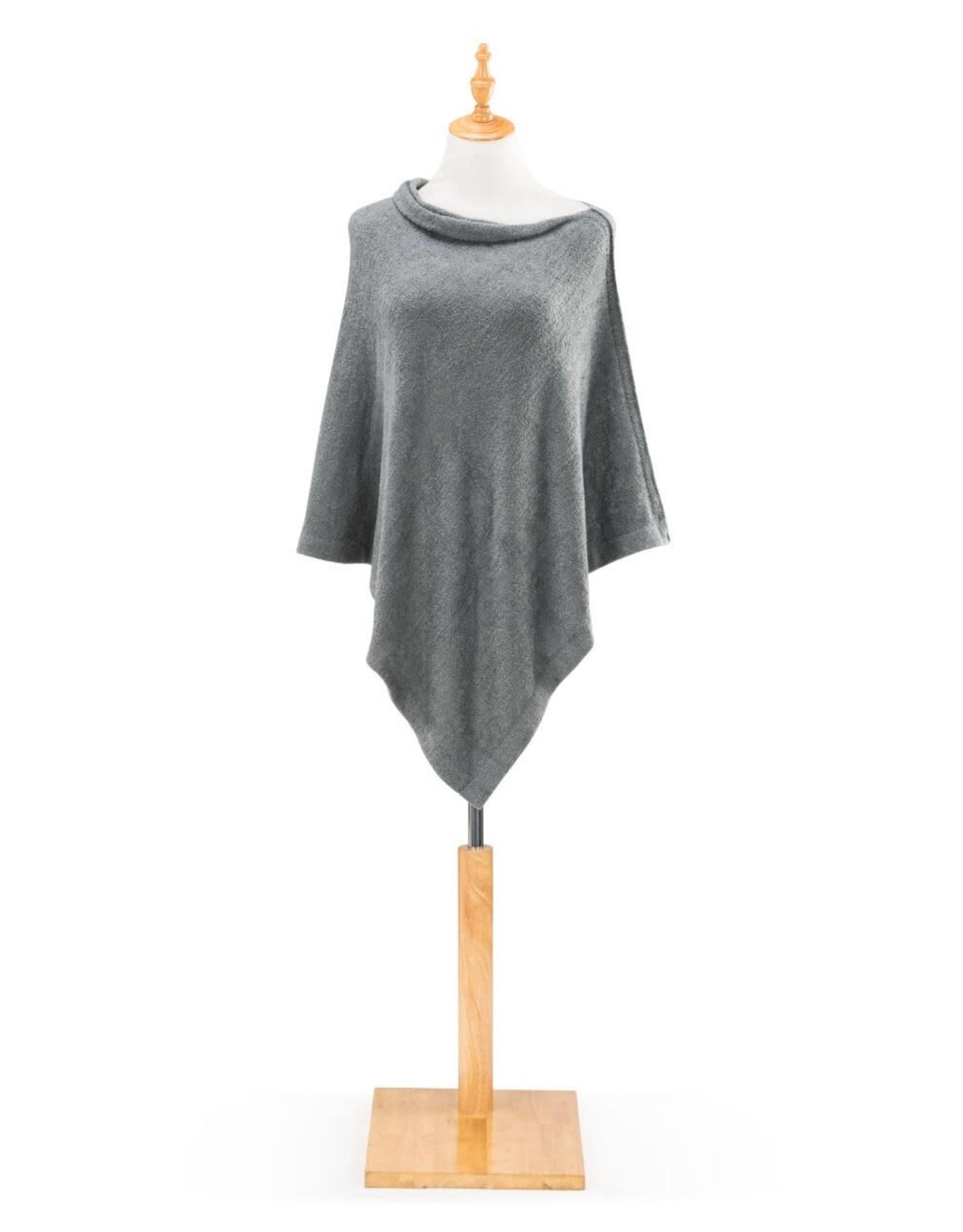 Cozy Knit Poncho-Gray