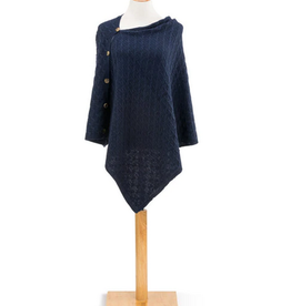 Navy Knit Button Poncho
