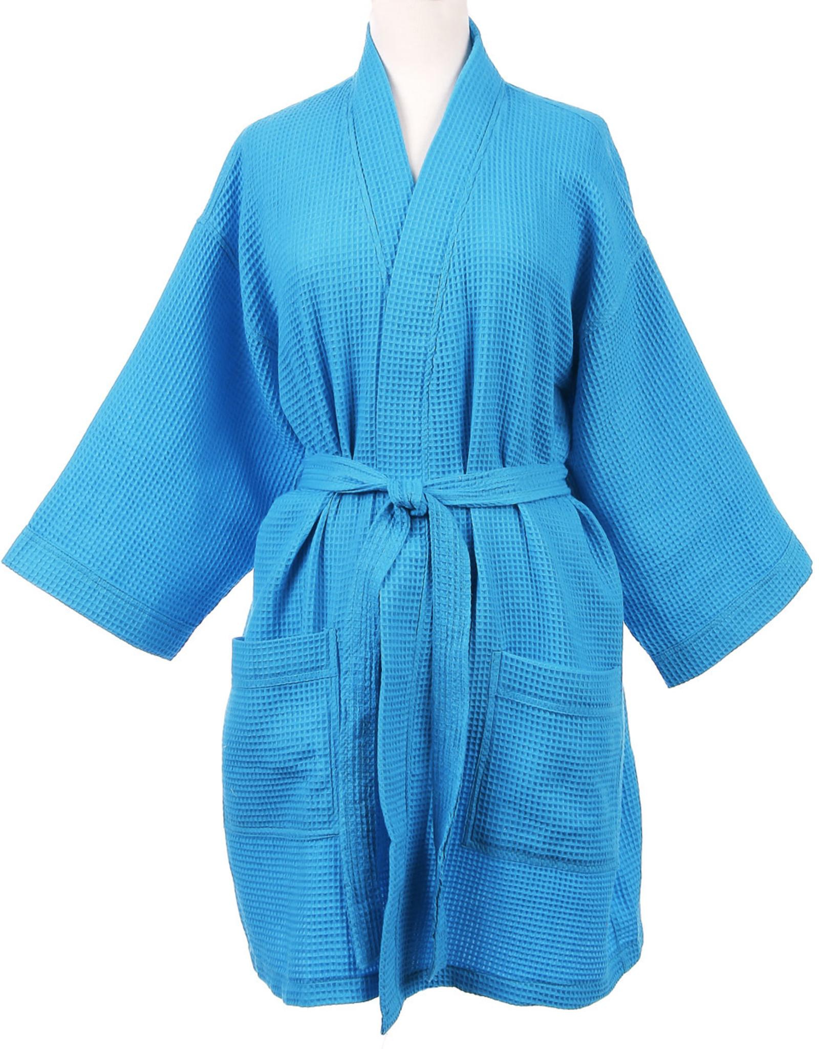 Turquoise Short Waffle Robe