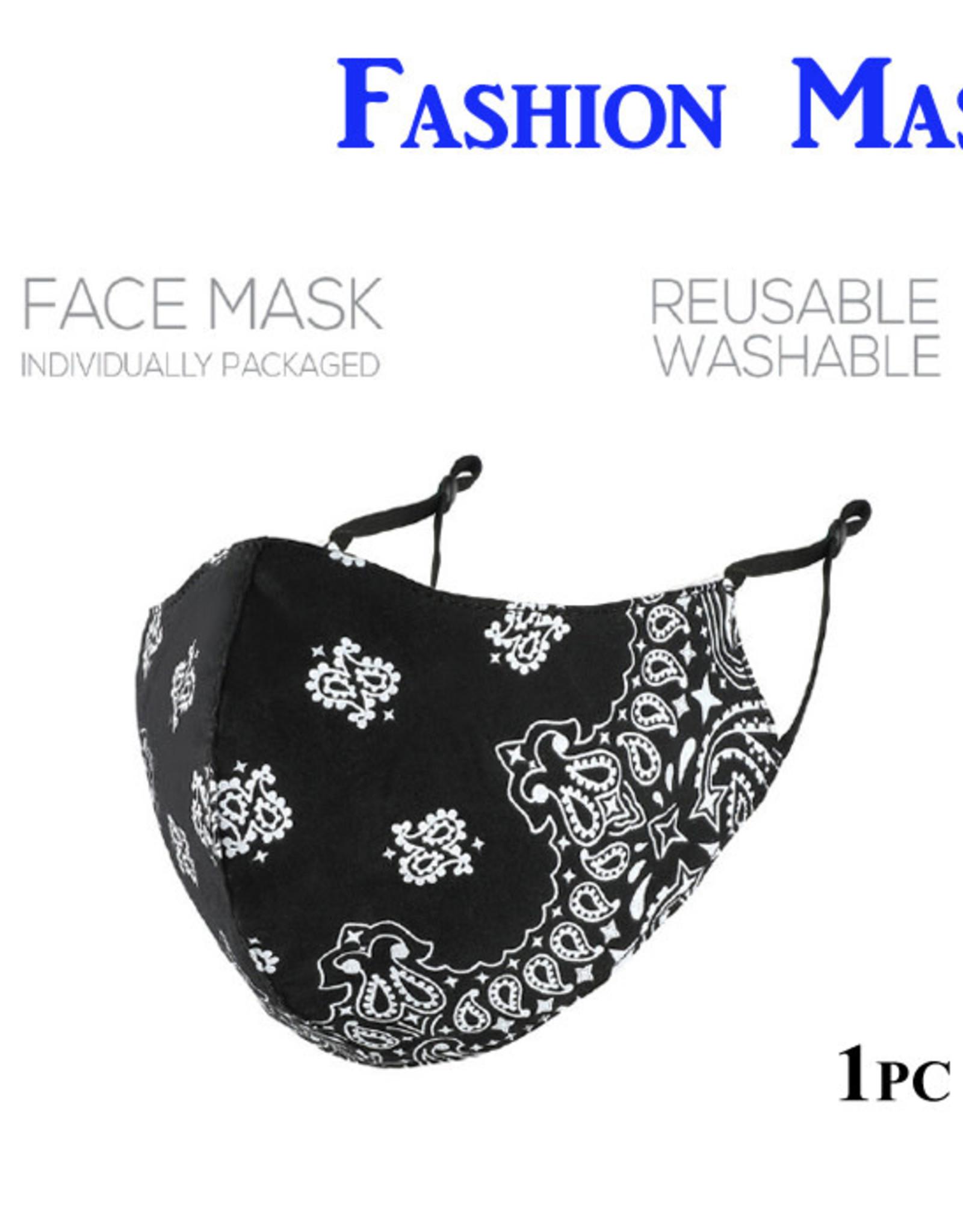 Blk/Wht Paisley Face Mask