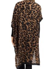 Dark Leopard Kimono with Black Trim