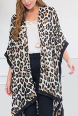 Beige Leopard Kimono with Black Trim