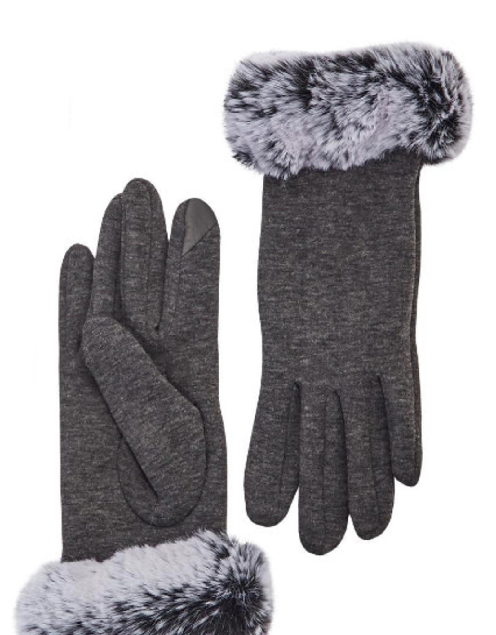 Faux Fur Gray Gloves