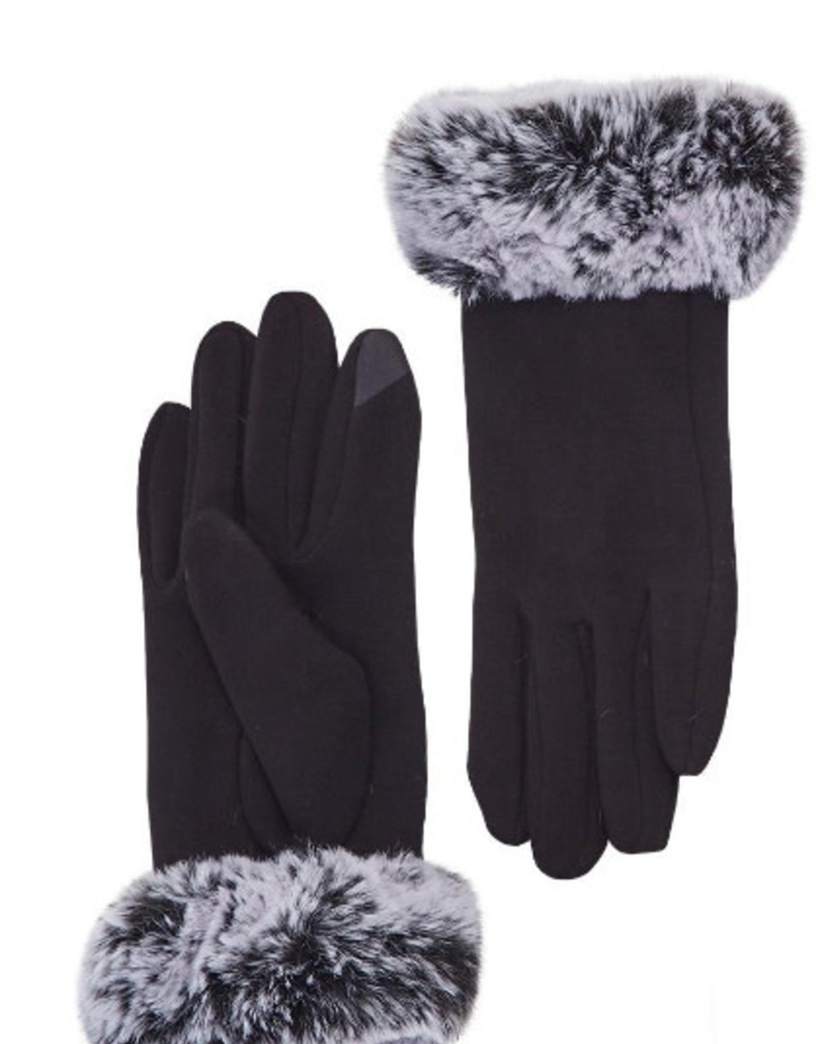 Faux Fur Black Gloves