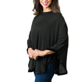 Faux Fur Trimmed Poncho 2 Colors