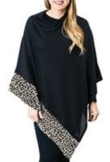Black Poncho With Leopard Trim
