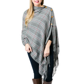 3-in-1 Gray Glen Plaid Wrap