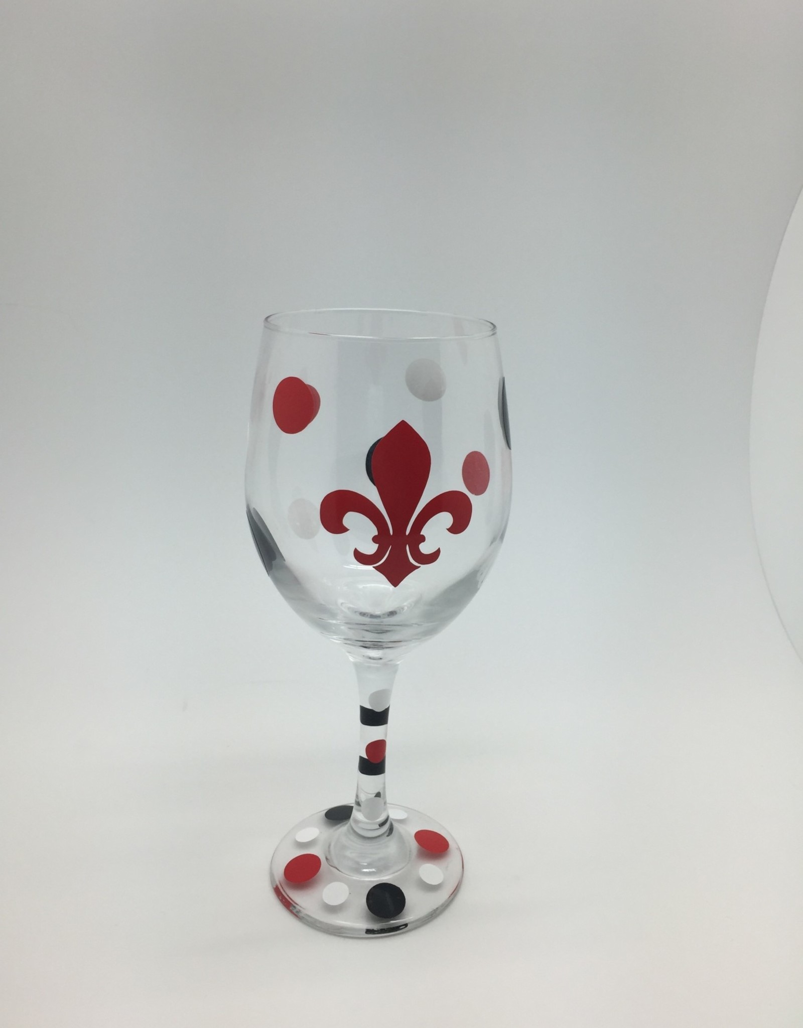 Koi Red FDL Wine Glass with Dots