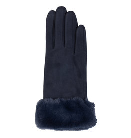 Navy Glove with Faux Fur