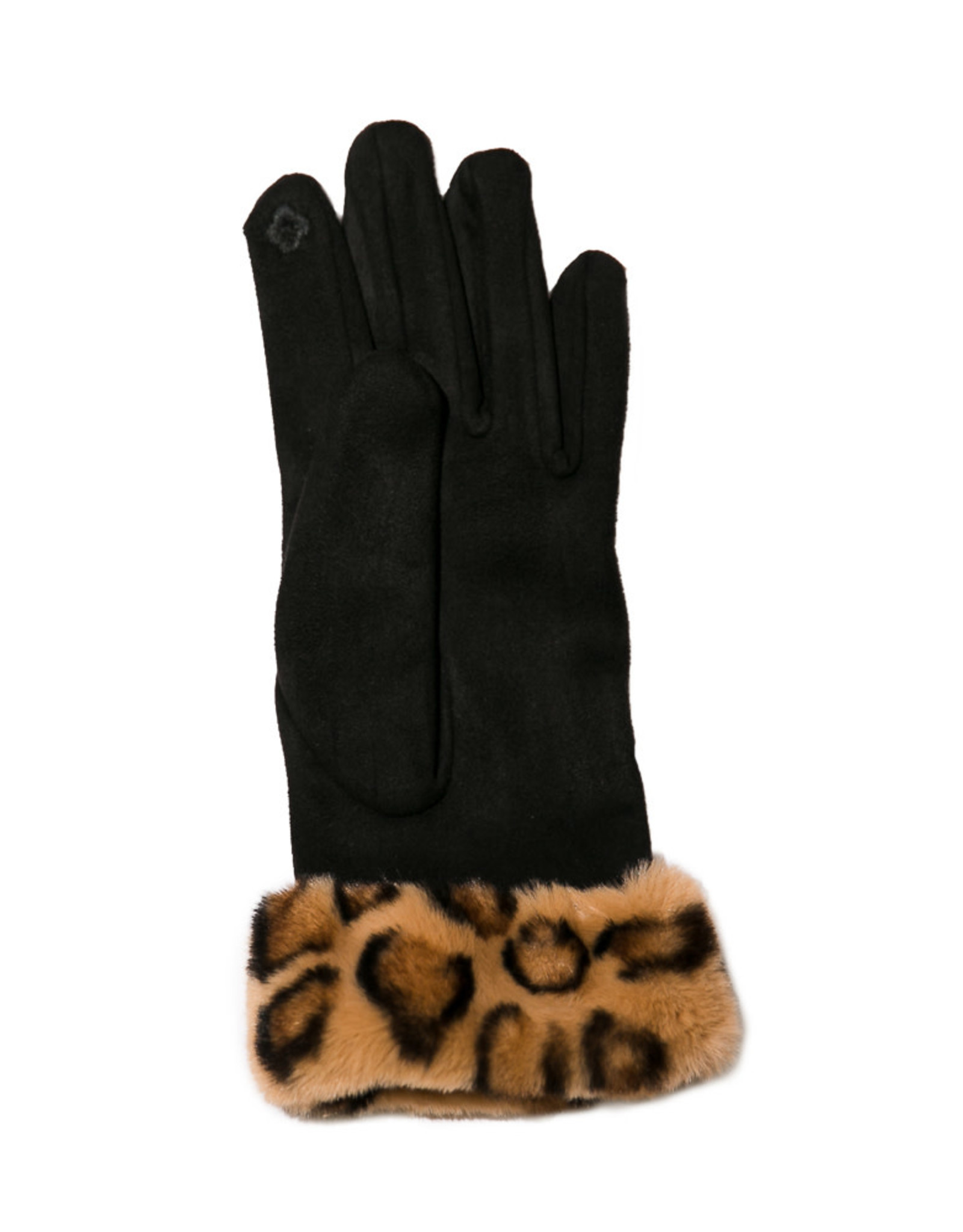 Black Gloves With Faux Leopard Fur