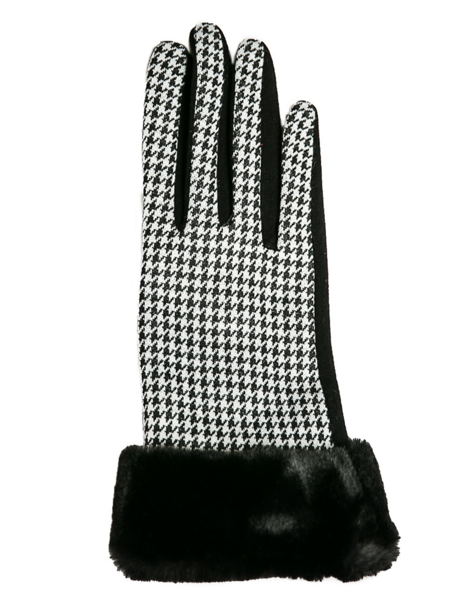 Houndstooth Gloves With Faux Fur