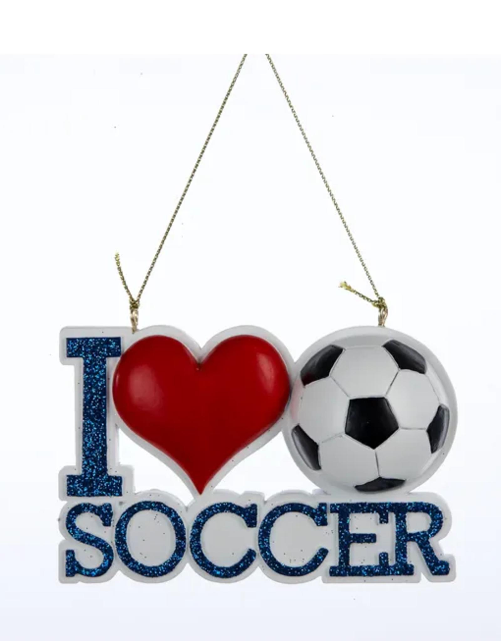 I Love Soccer Ornament