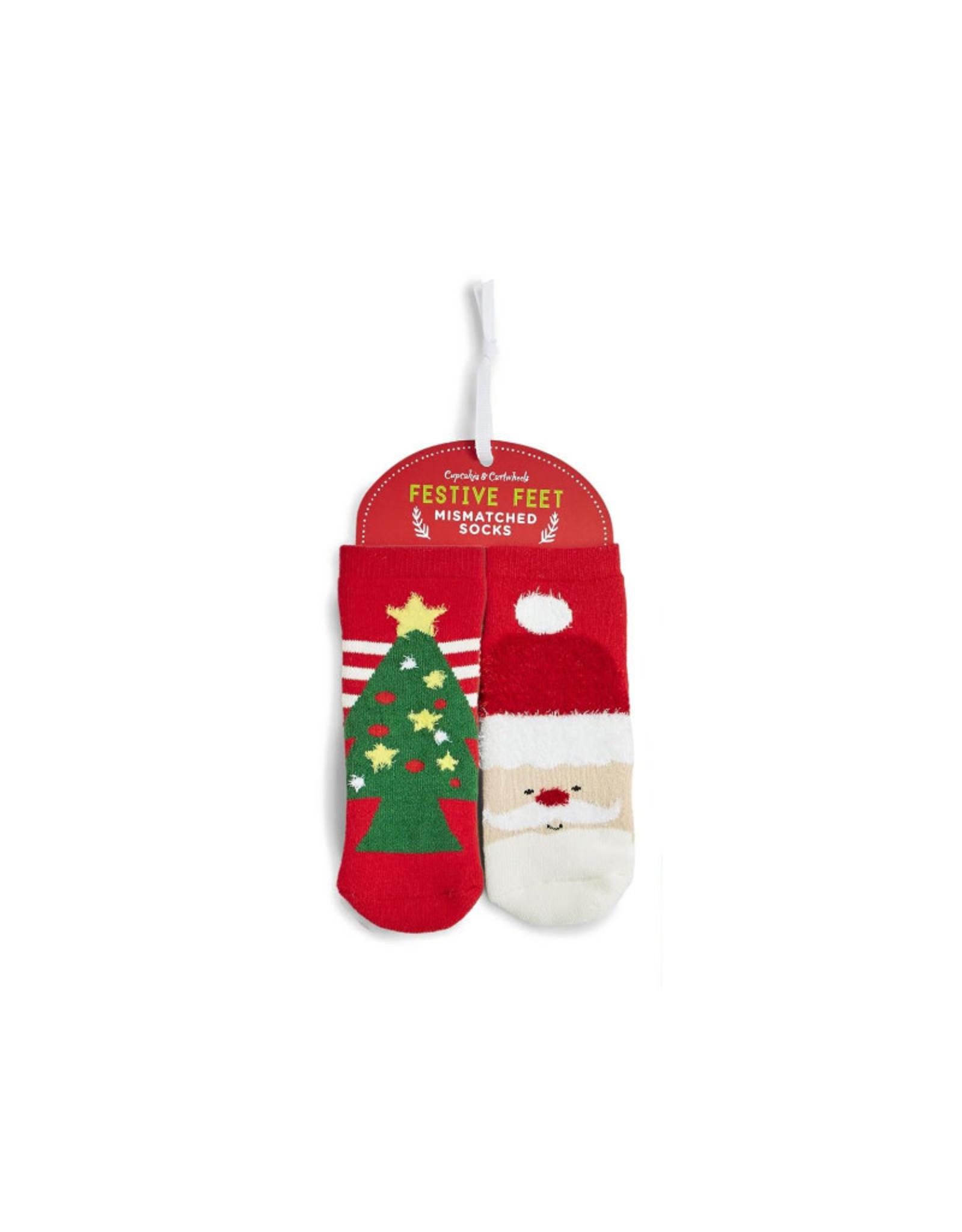 Kid's Mismatched Santa/Tree Socks
