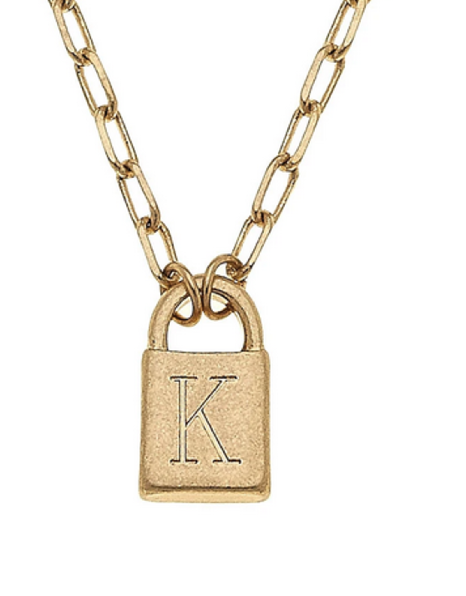 Initial Padlock Necklace Worn Gold