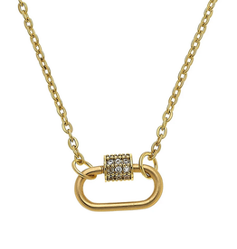 Oval Lock Necklace Worn Gold
