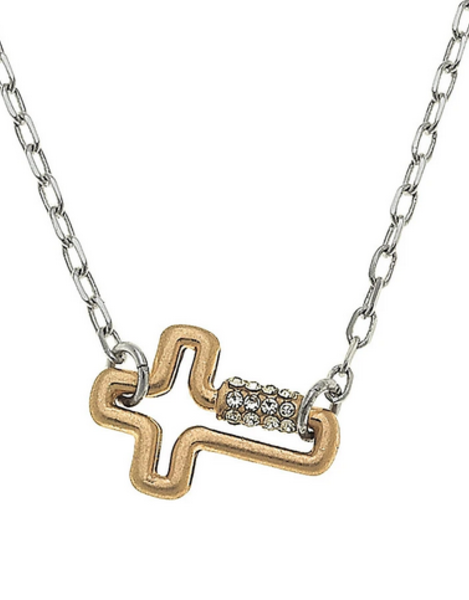 Mini Cross Lock Necklace 2 Tone