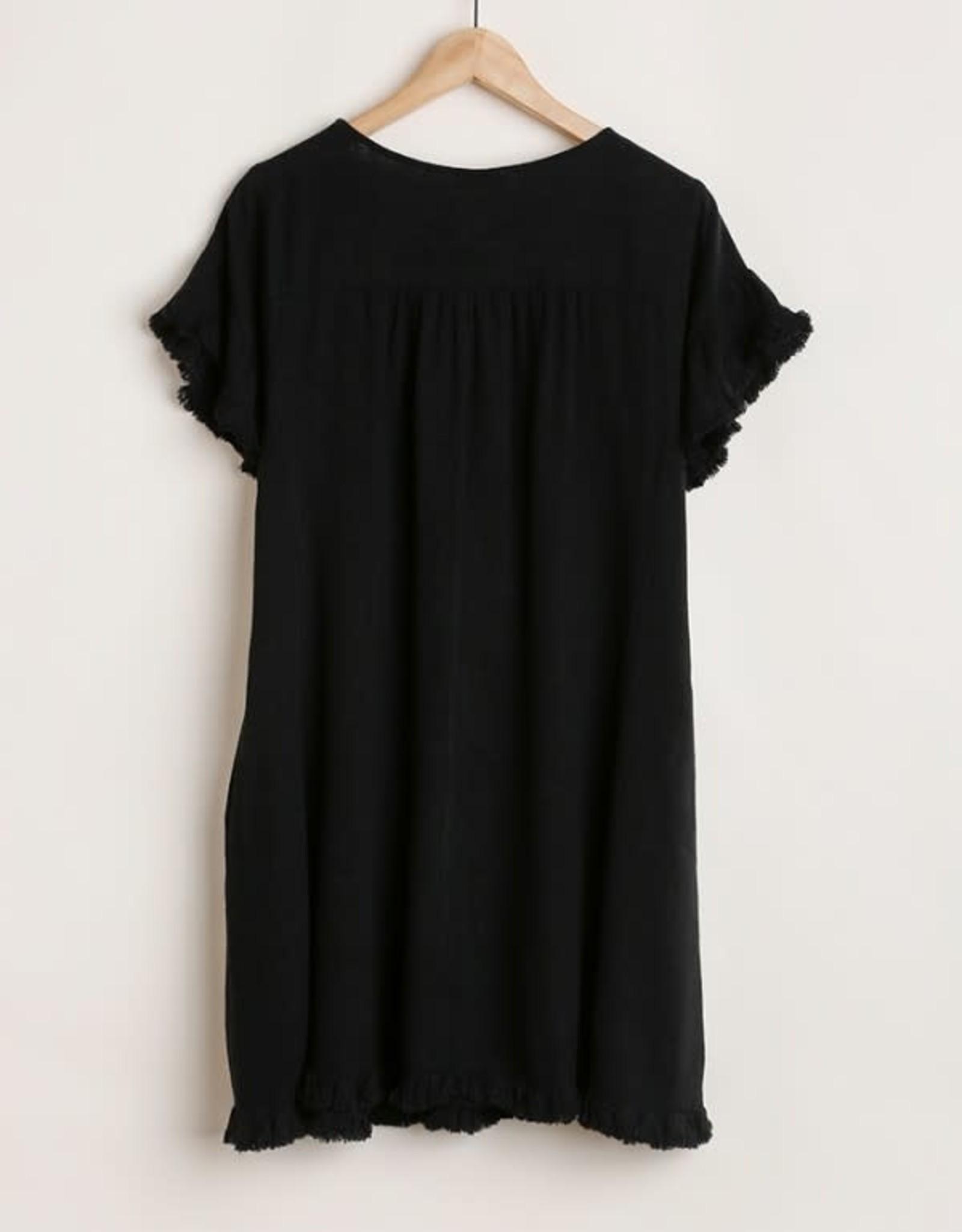 Umgee Short Ruffle Sleeve Round Neck Dress 5 Colors
