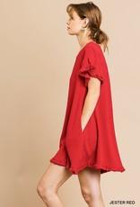 Short Ruffle Sleeve Round Neck Dress 3 Colors