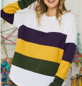 Mardi Gras Colorblock L/S  Crew Neck Top