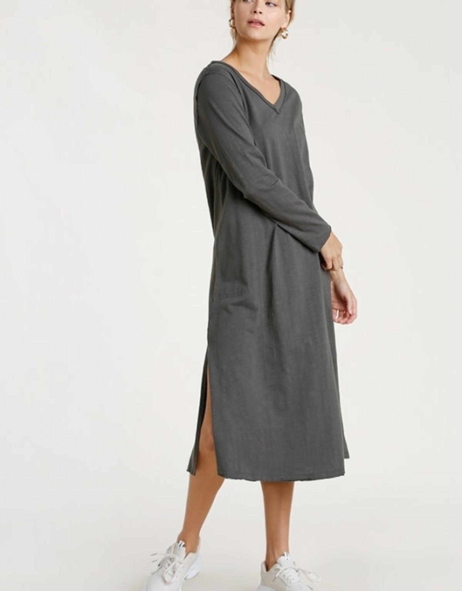 Umgee Long Sleeve V-Neck Maxi Dress
