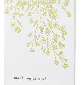 letterpressed florals thank you card