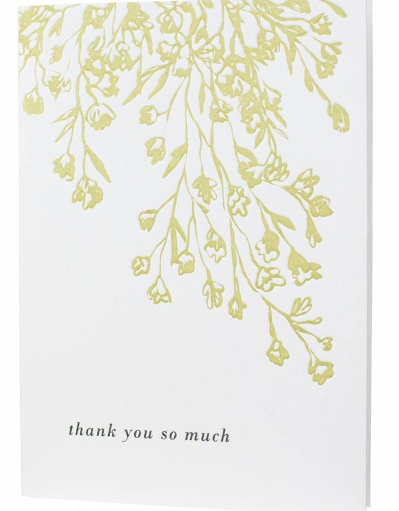letterpressed floral illustration thank you card