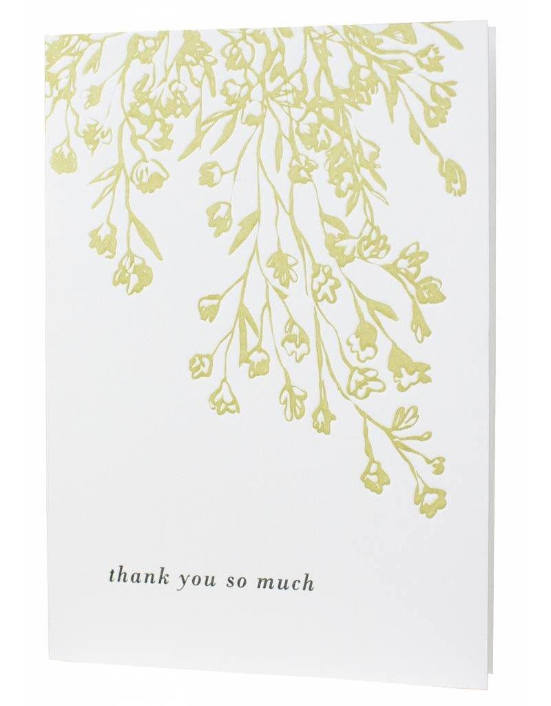 letterpressed floral illustration thank you card
