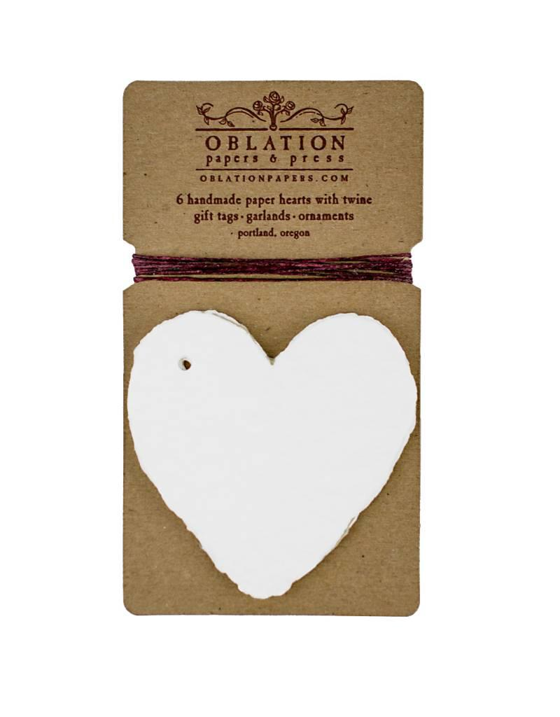 Petite Handmade Paper White Hearts with Thread
