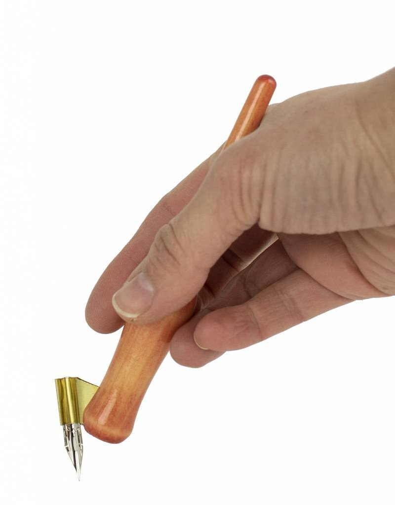 Oblique Hand Turned Carrot Nib Holder - Coral