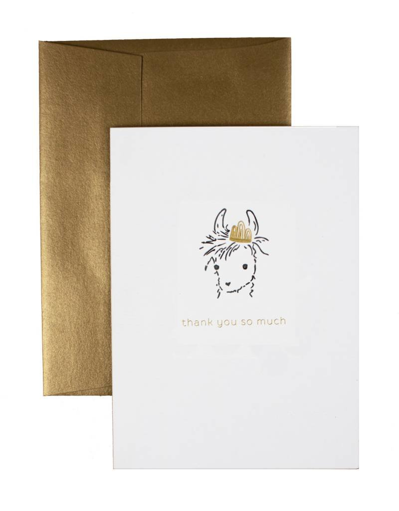 """Oblation Papers & Press """"adorable animals"""" llama thank you card"""