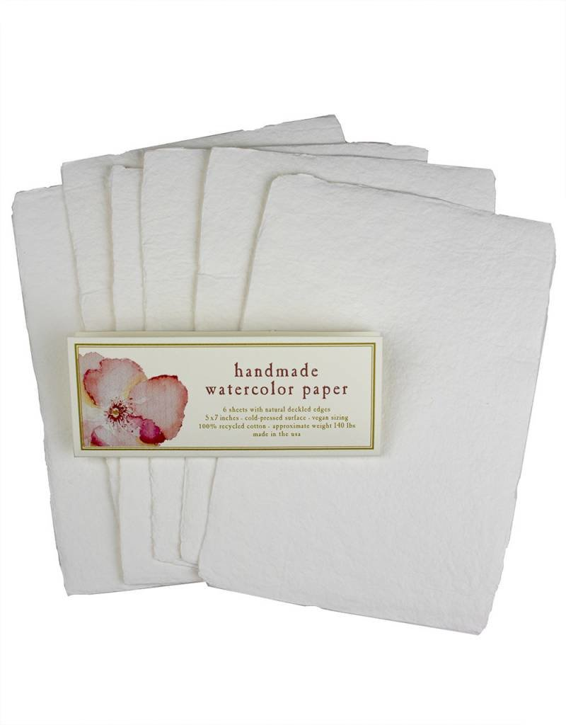 "Oblation Papers & Press 5x7"" Square 140# Handmade Watercolor Paper  - Pack of 6"
