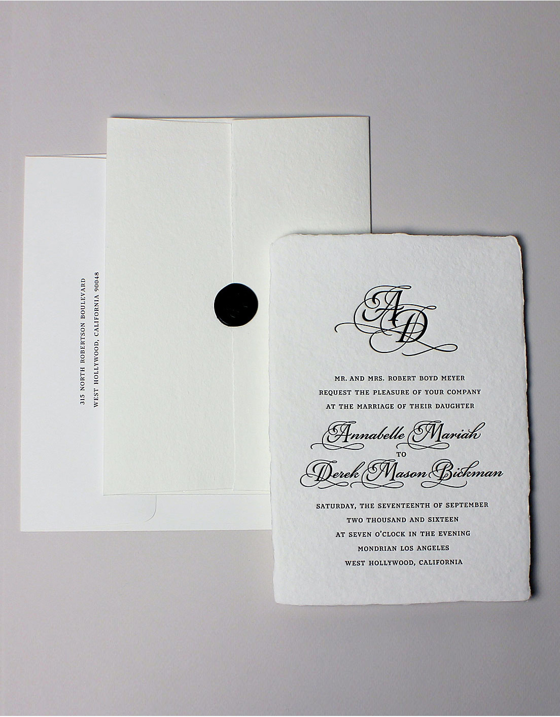 Minuet Suite Invitation and Printed Envelope