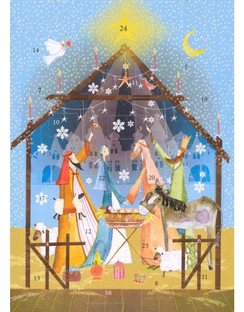 Nativity Scene Advent Calendar Card