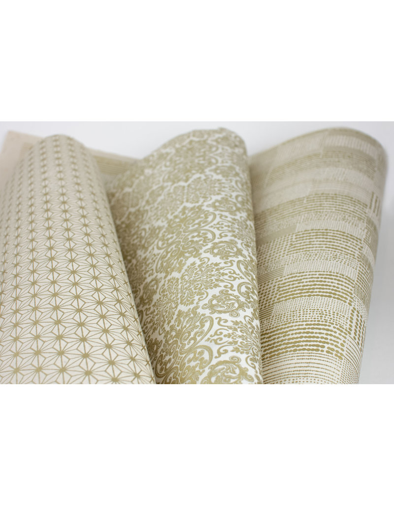 Cream and Gold Flat Wrap Trio