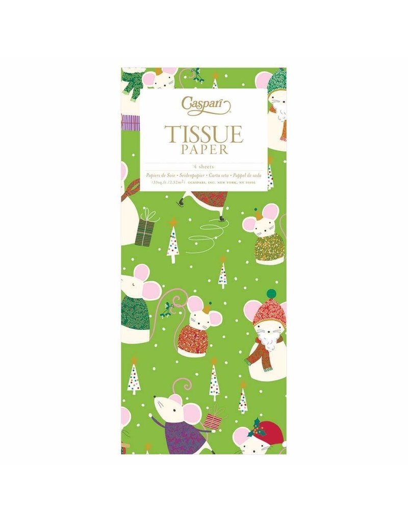 Christmas Mice Green Tissue Paper