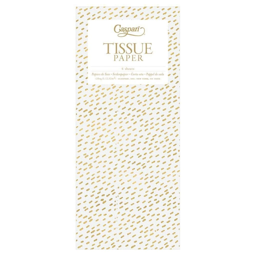 Gold Dashed White Tissue Paper
