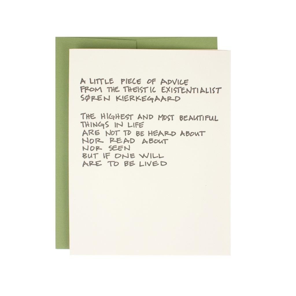 Hat + Wig + Glove Kierkegaard Quote Supreme Card