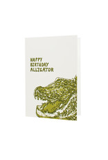 Hat + Wig + Glove happy birthday alligator letterpress birthday card