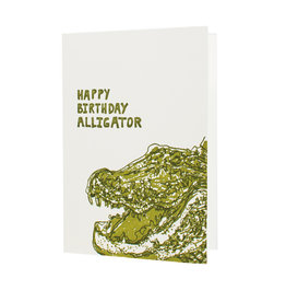 Hat + Wig + Glove happy birthday alligator letterpress card