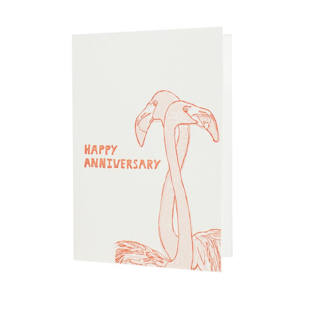 Hat + Wig + Glove Happy Anniversary Flamingo letterpress card
