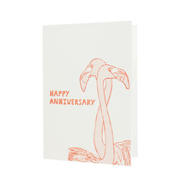 Hat + Wig + Glove Happy Anniversary Flamingo letterpress card