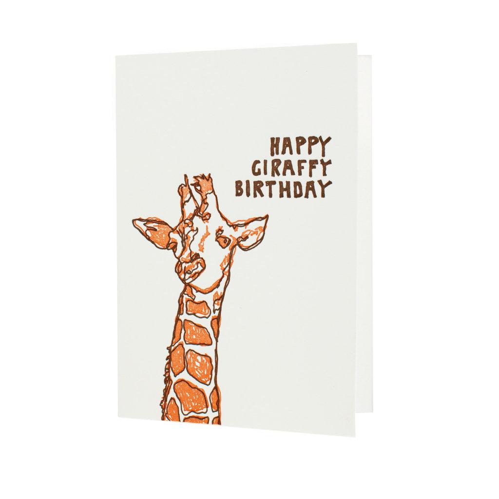 Hat + Wig + Glove happy giraffy birthday letterpress card
