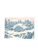 Oblation Papers & Press Cabin Woodblock Print Card
